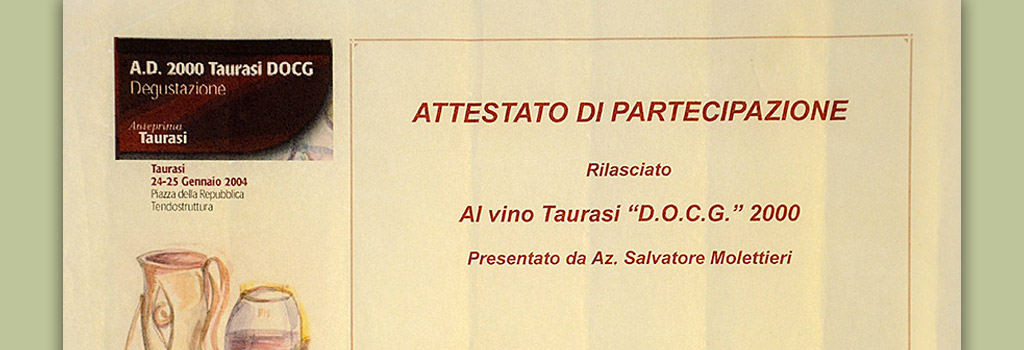 """Taurasi preview: certificate of participation in Taurasi DOCG """"Vigna Cinque Querce"""" 2000"""