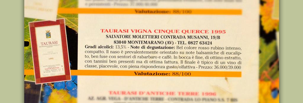 "Il Sommelier Italiano: 88/100 a Taurasi DOCG ""Vigna Cinque Querce"" 1995"