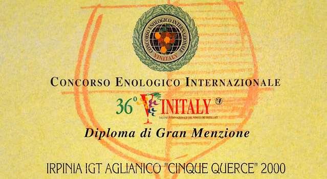 """36° Vinitaly: Gran Menzione a Irpinia Aglianico DOC """"Cinque Querce"""" 2000"""