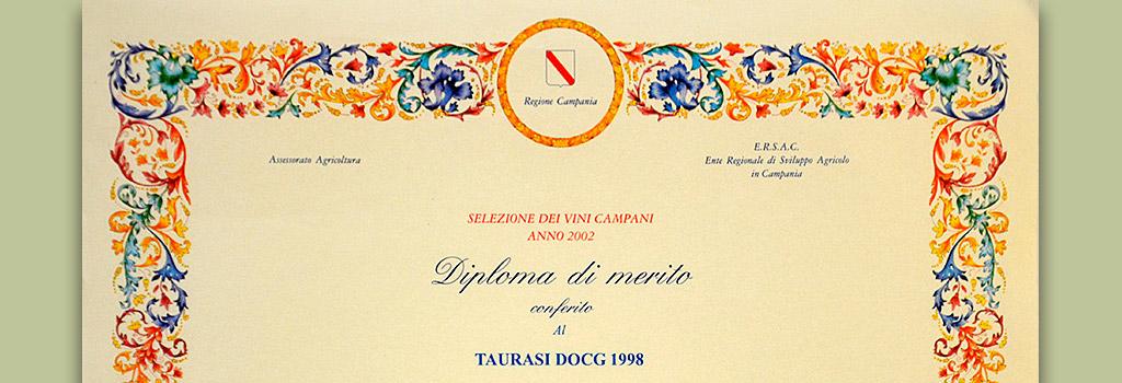 """Selezione dei Vini Campani della Regione Campania: Diploma di Merito al Taurasi DOCG """"Vigna Cinque Querce"""" 1998"""