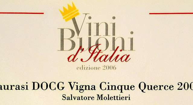 "Vini Buoni d'Italia: Corona a Taurasi DOCG ""Vigna Cinque Querce"" 2001"