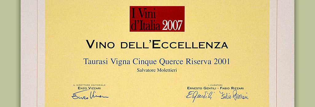 """I vini d'italia de L'Espresso: Vino dell'Eccellenza a Taurasi Riserva DOCG """"Vigna Cinque Querce"""" 2001"""