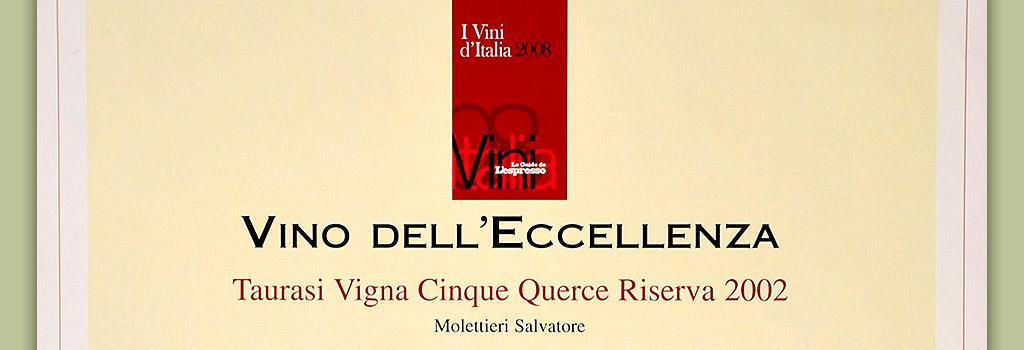 """I Vini d'Italia de L'Espresso: 5 bottiglie a Taurasi Riserva DOCG """"Vigna Cinque Querce"""" 2002"""