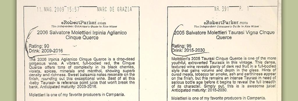 "Guida Robert Parker: 90/100 a Irpinia Aglianico DOC ""Vigna Cinque Querce"" 2006"