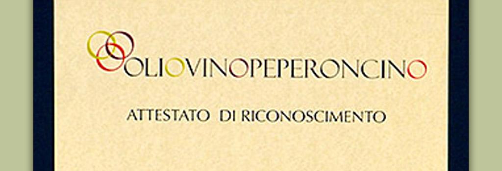 """Attestato di Riconoscimento rilasciato da OlioVinoPeperoncino in occasione di """"Terre di Aglianico. Montemarano Wine Experience"""""""