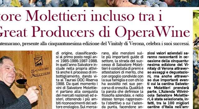 Salvatore Molettieri incluso tra i 100 Great Producers di Opera Wine